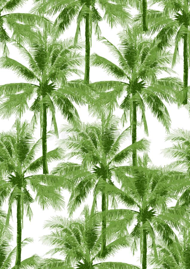 Seamless pattern green coconut tree illustration on white stock illustration