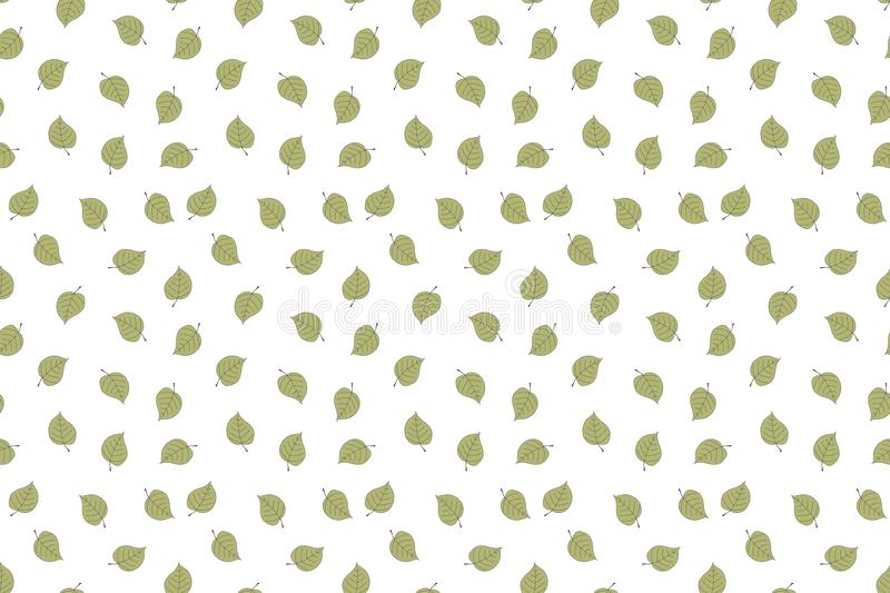 Seamless pattern with green falling leaves. Hand drawn design. Seamless pattern with green falling leaves. Hand drawn colorful design stock illustration