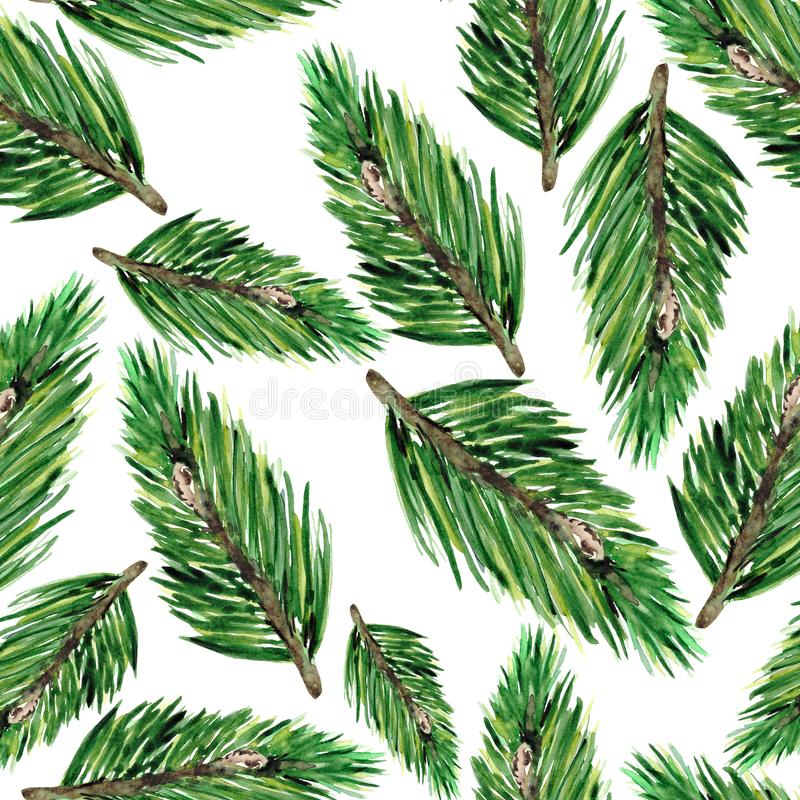 Seamless pattern with green fir branches. Christmas background for textiles, Wallpaper and packaging. royalty free stock photos