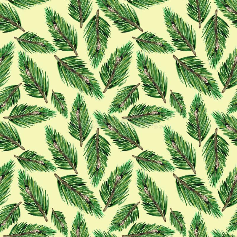 Seamless pattern with green fir branches. Christmas background for textiles, Wallpaper and packaging. stock photos