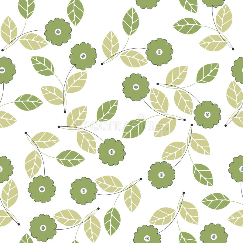 Seamless pattern with green flowers and leaves on white. Background can be used for design fabric, wrapping paper, package, covers, linen and more ideas vector illustration