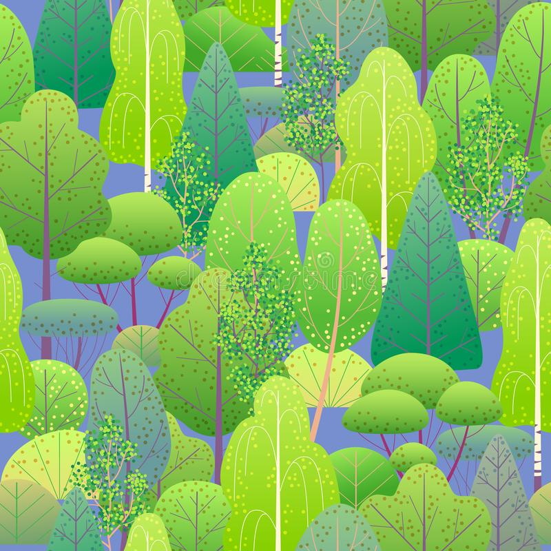 Seamless Pattern with Green Forest stock illustration