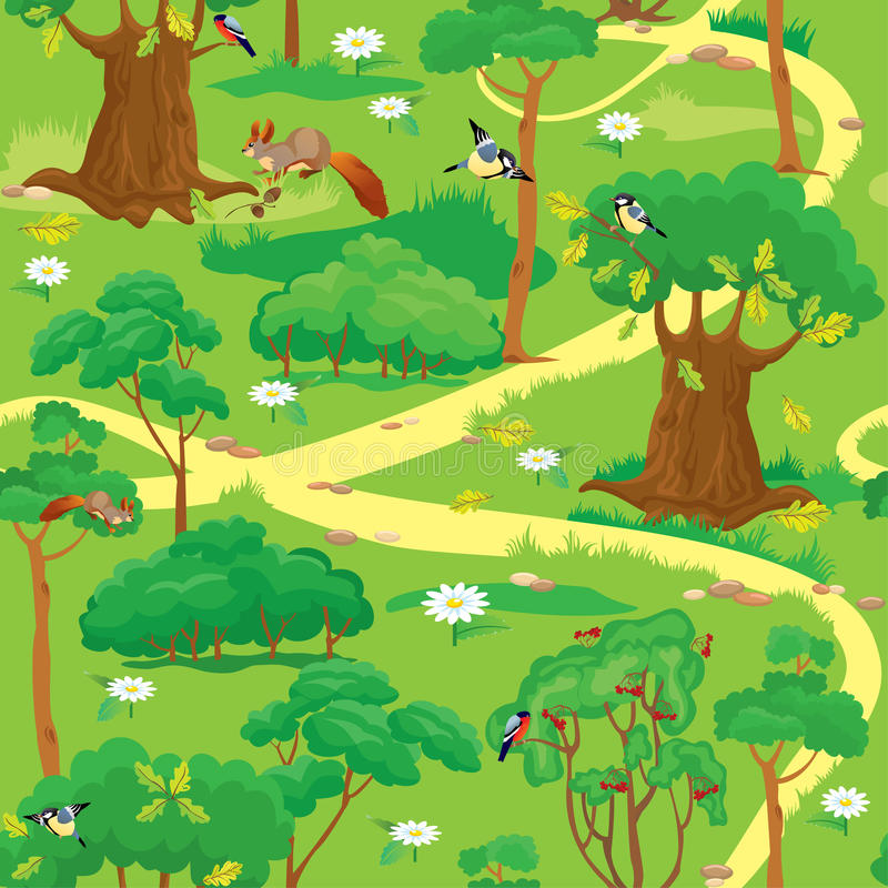 Free Seamless Pattern - Green Forest Landscape Royalty Free Stock Photography - 30627967