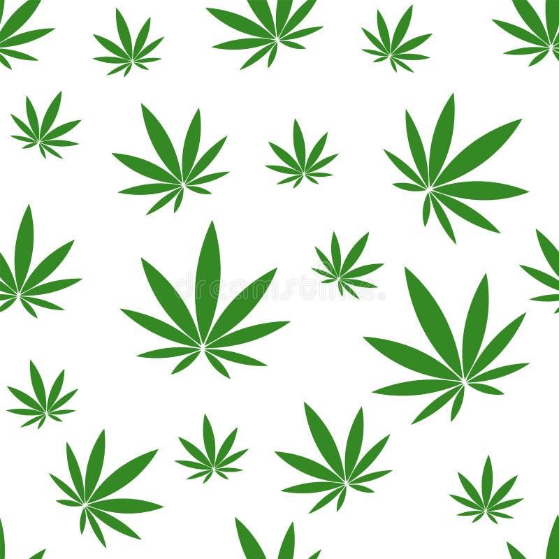 Seamless pattern with green hemp on white background. stock illustration