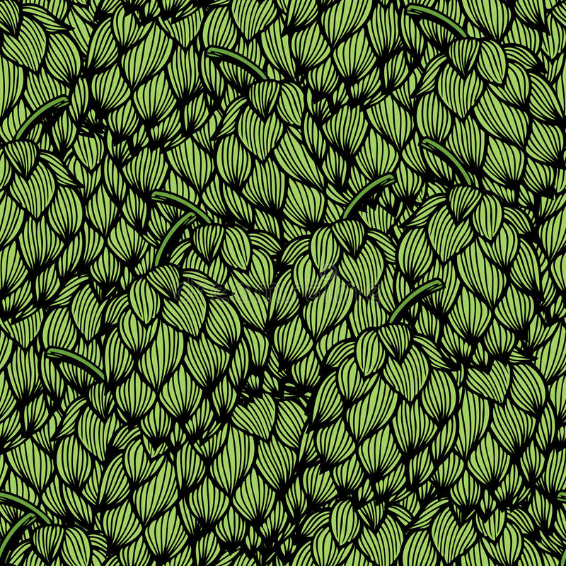 Seamless pattern with green hops royalty free illustration