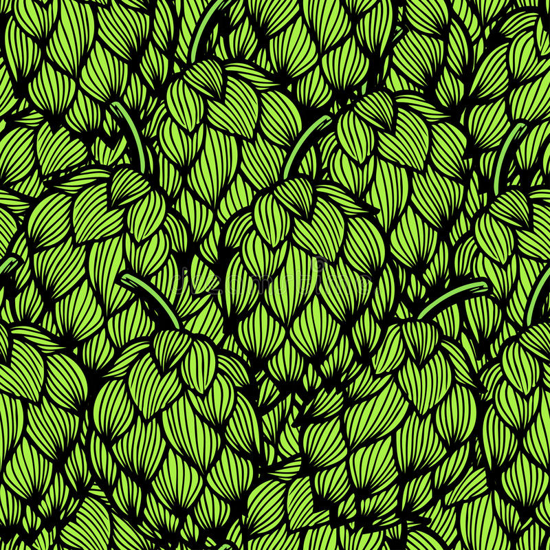 Seamless pattern with green hops stock illustration