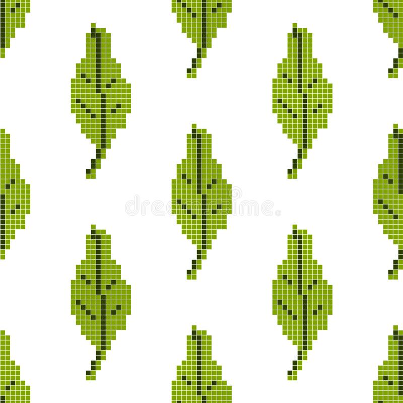 Seamless pattern with green leaf on a white background. Pixel art, vector illustration. Retro style game stock illustration