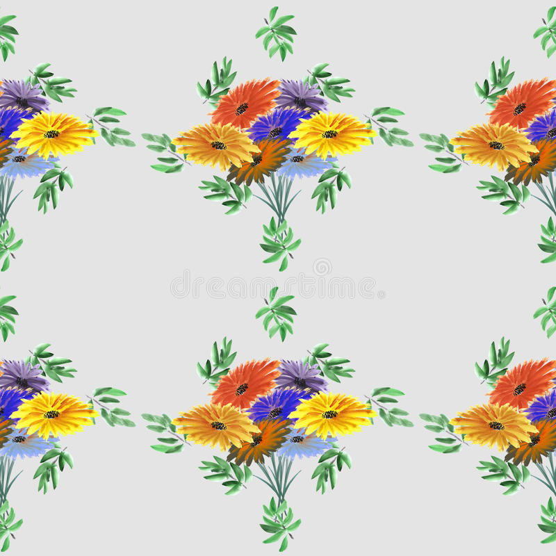 Seamless pattern of green leaves and bright flowers on a gray background. Watercolor stock images