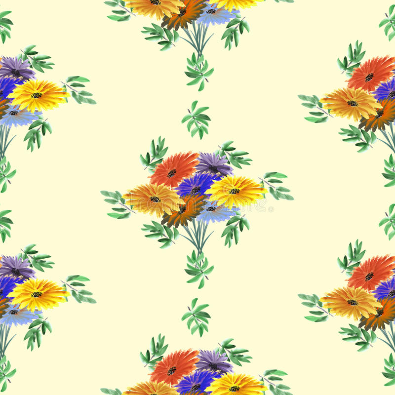 Seamless pattern of green leaves and bright flowers on a yellow background. Geometric. Watercolor royalty free stock image