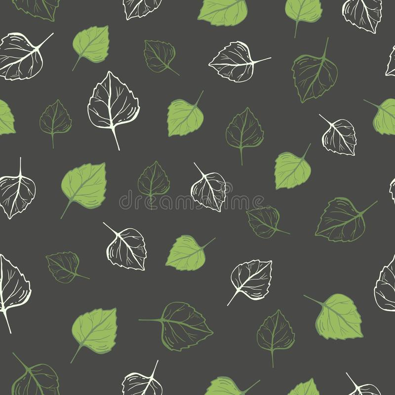 Seamless pattern of green leaves on a dark background vector illustration