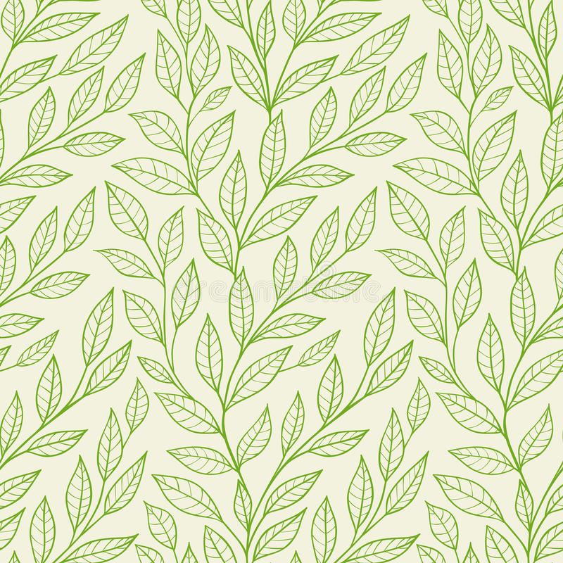 Seamless pattern with green leaves stock illustration