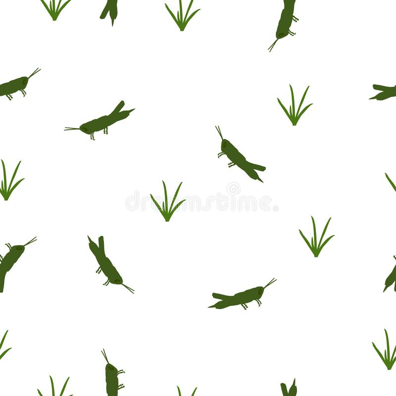 Seamless pattern green Locust and grass on white, vector eps 10. Seamless wild animals pattern cute small green Locust and grass silhouette on white background vector illustration