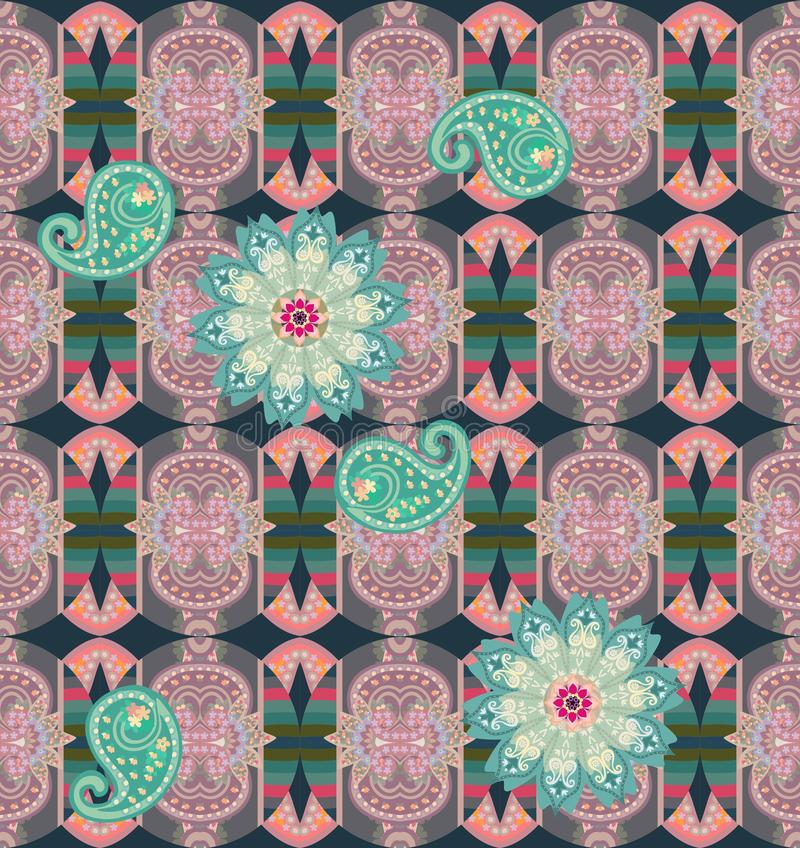 Seamless pattern with green mandala flower and paisley on ornate ornamental background. Ethnic style. Fashionable print for fabric. Indian, persian, arabic royalty free illustration