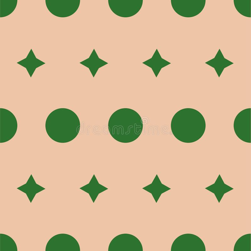 Seamless pattern: green polka dot and rhombuses on a beige background. Vector. Illustration royalty free illustration