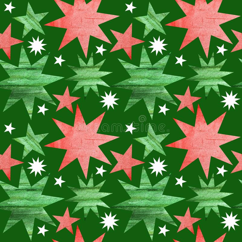 Seamless pattern with green, red and white christmas stars. Bright Green background in simple style with stars. Best. Seamless pattern with green, red and white royalty free stock photography