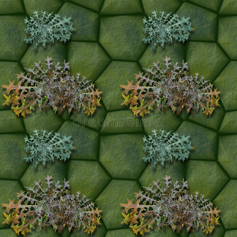 Seamless pattern of green stones and thistles royalty free illustration