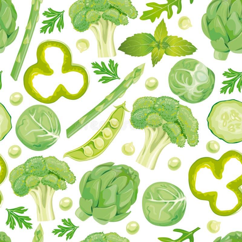 Seamless pattern of green vegetables vector illustration