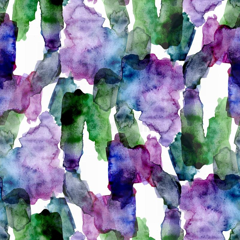 Seamless pattern of green and violet watercolor stains for background stock images