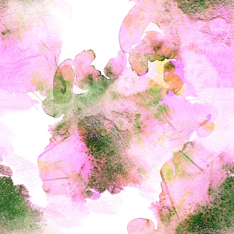 Seamless pattern of green and violet watercolor stains for background royalty free stock photos