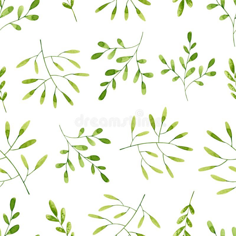 Seamless pattern with green watercolor branches and leaves. Hand drawn illustration isolated on white vector illustration