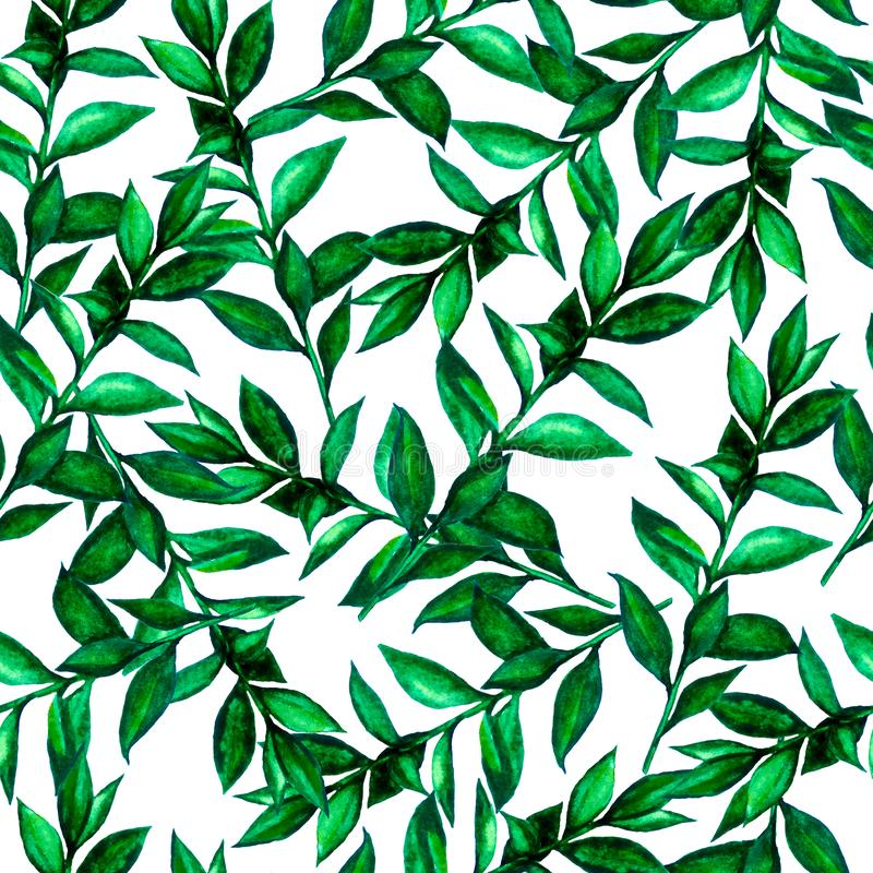 Seamless pattern  green watercolor leaves. stock illustration