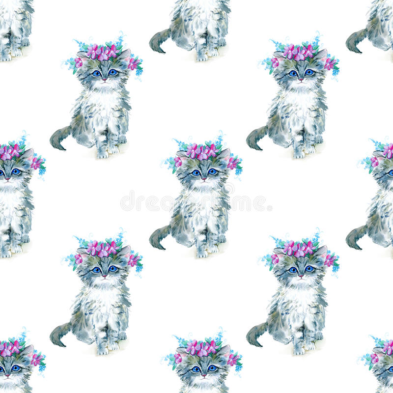 Seamless pattern with grey kitty and flower wreath. vector illustration