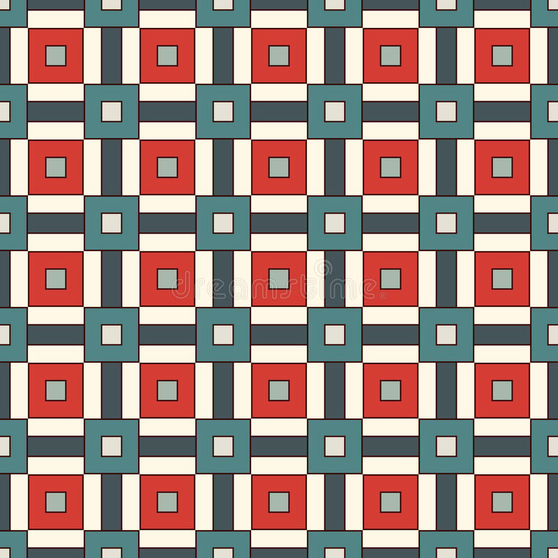 Seamless pattern with grid geometric ornament. Repeated square and stripes abstract background. Retro surface texture. vector illustration