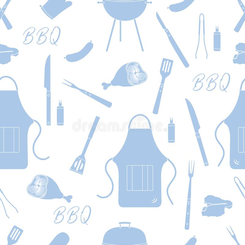 Seamless pattern with grill, barbecue tools. BBQ. Seamless pattern with grill and barbecue tools. BBQ party background. Design for party card, banner, poster or vector illustration