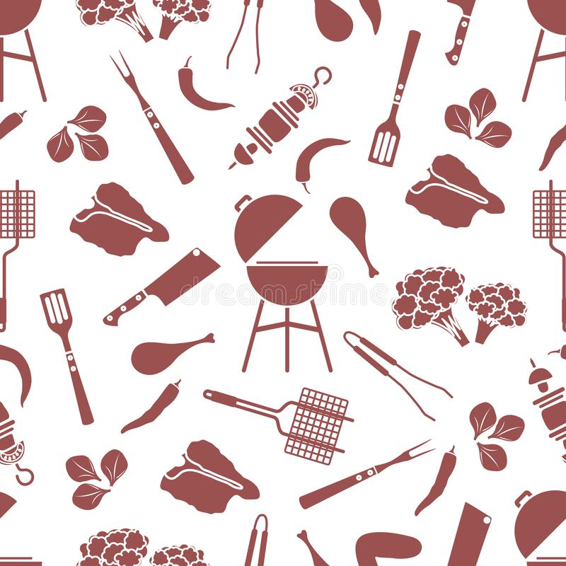 Seamless pattern Grill, barbecue tools, food. BBQ. Seamless pattern with grill and barbecue tools, food. BBQ party background. Design for party card, banner royalty free illustration