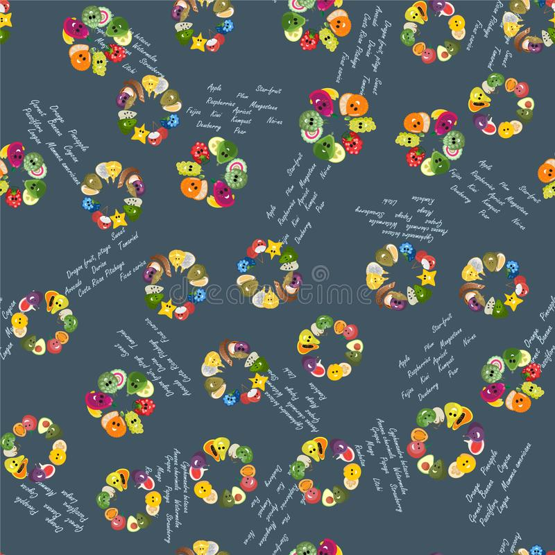 Exotic fruits pattern. Seamless pattern from groups of exotic fruits and text royalty free illustration