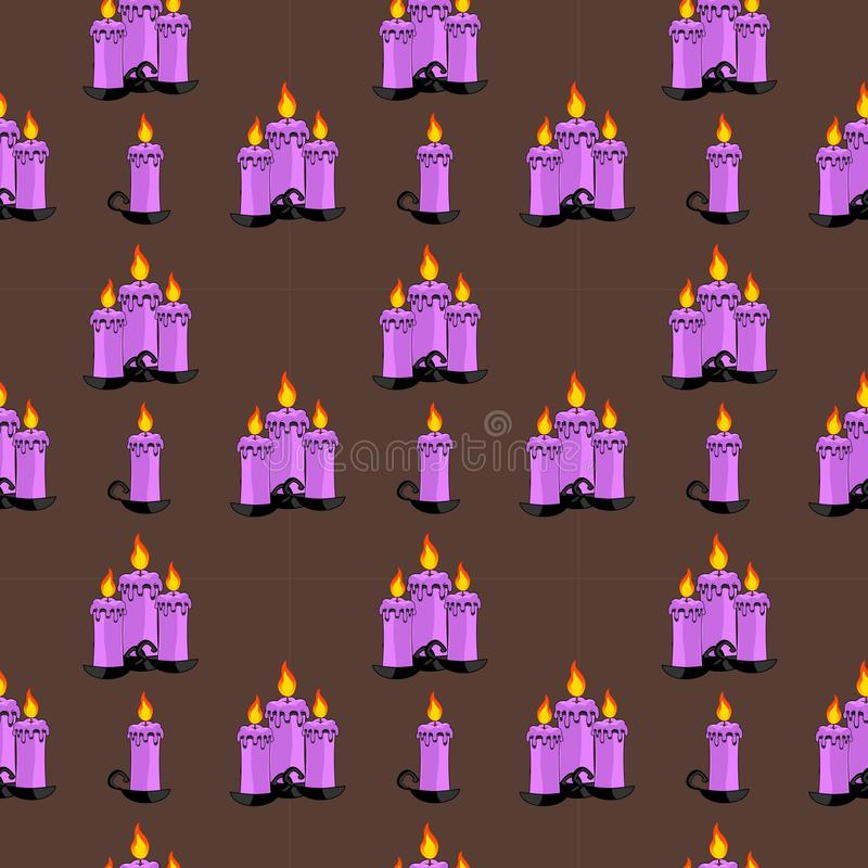 Seamless Pattern Of Groups Of Lit Candles On Dark Neutral Background. vector illustration