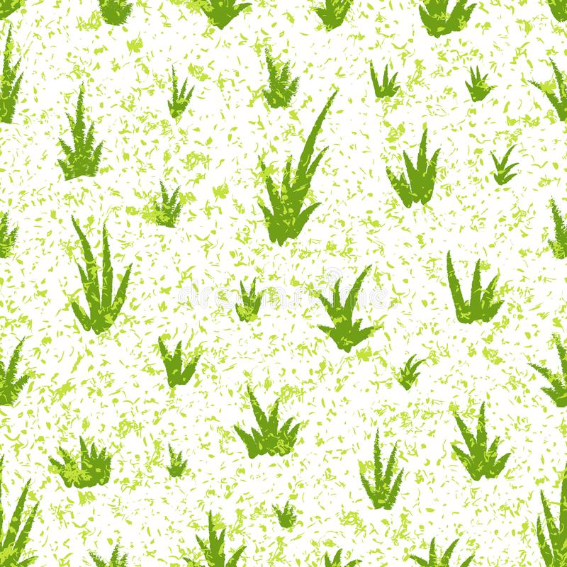 Seamless pattern with grunge grass pattern. Hand drawing grass and noise, template for greeting card or packaging decoration vector illustration