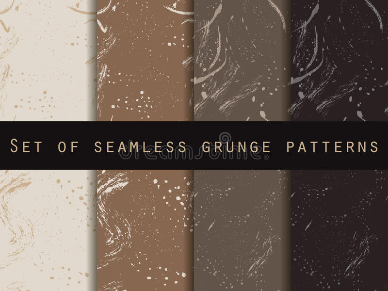 Seamless pattern in grunge style. Coffee color. Set. For wallpaper, bed linen, tiles, fabrics, backgrounds. Vector texture royalty free illustration