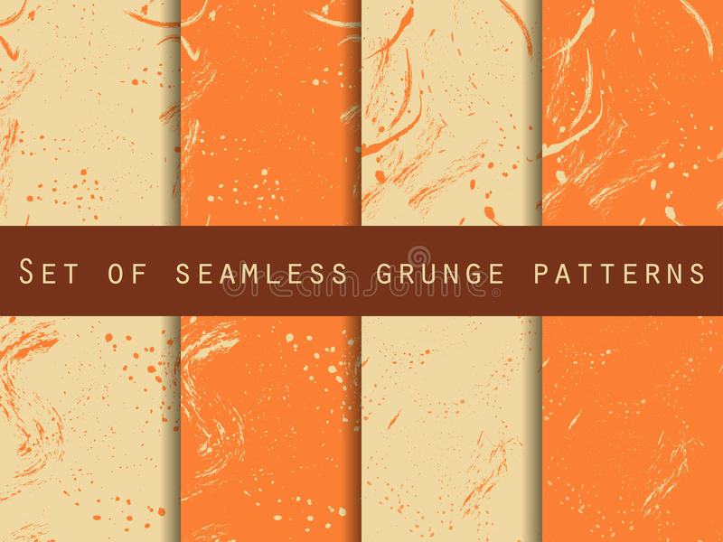 Seamless pattern in grunge style. Seamless pattern with blots and strokes. Set. For wallpaper, bed linen, tiles, fabrics royalty free illustration