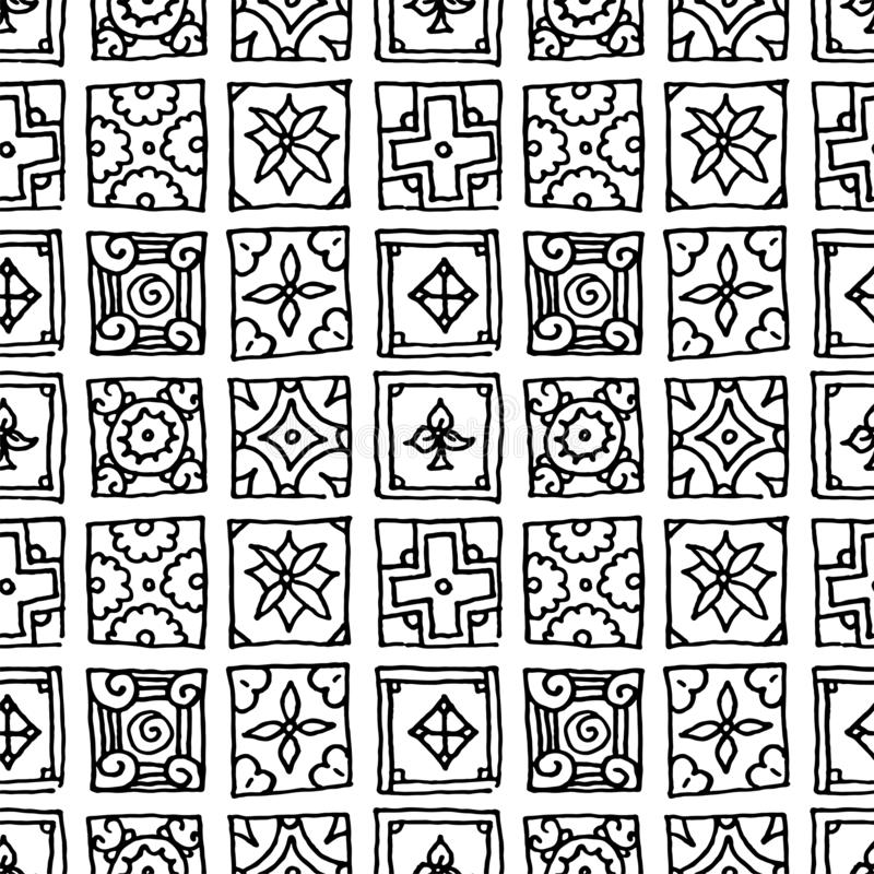 Seamless pattern of grunge tiles. Vintage Islam, Arabic, Indian, ottoman decorative design elements. Patchwork handdrawn motifs vector illustration