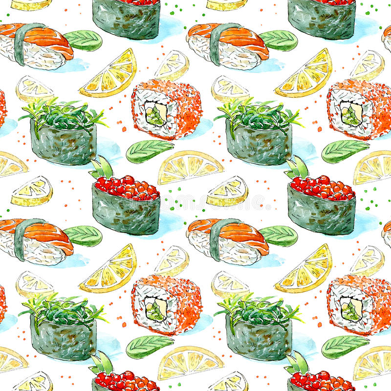 Seamless pattern of a gunkan, sushi and roll. Japanese cuisine. royalty free illustration