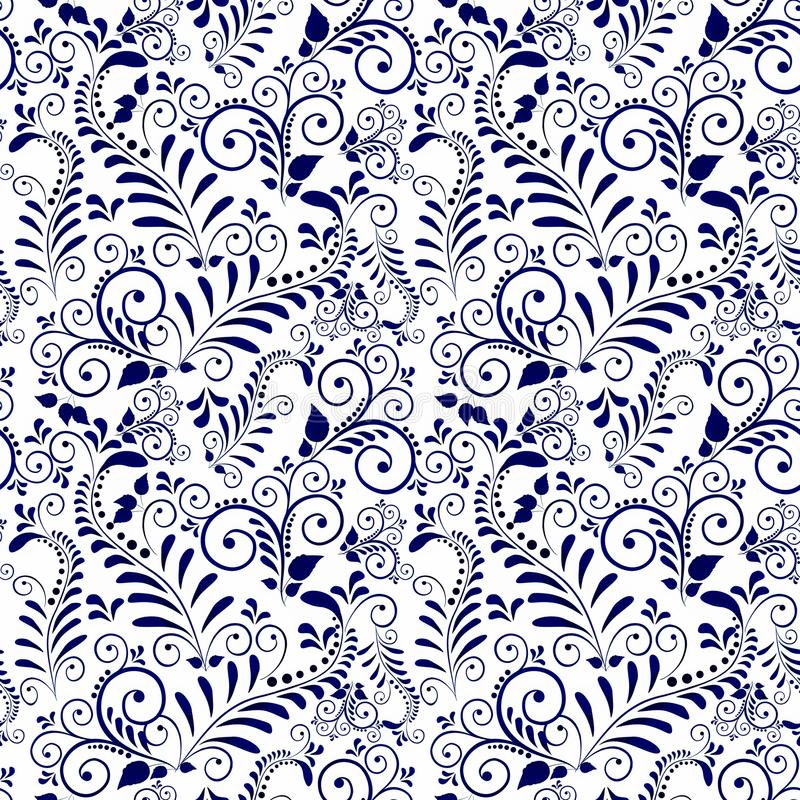 Seamless pattern of Gzhel ornament on white background. stock photography