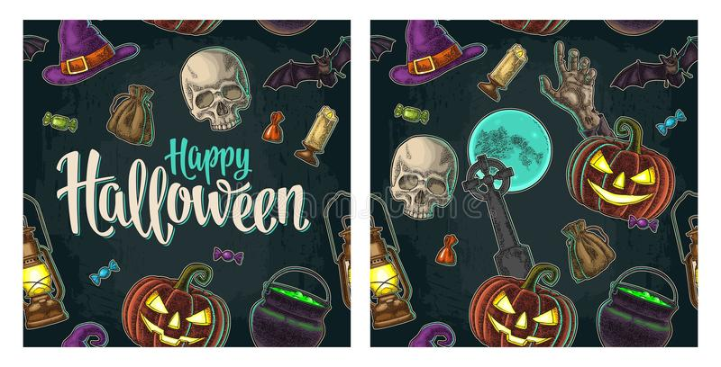 Seamless pattern for Halloween party. Vintage color engraving vector illustration
