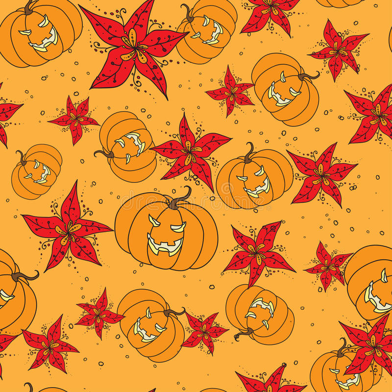 Seamless pattern with Halloween pumpkin and flowers royalty free illustration