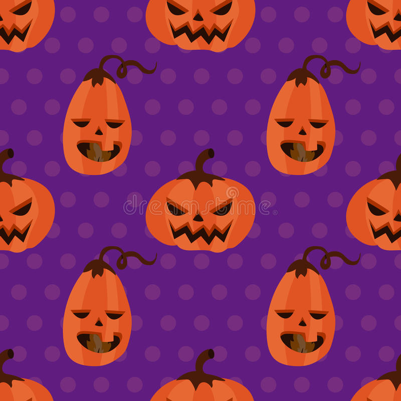 Seamless pattern halloween pumpkin with polka dots royalty free stock image