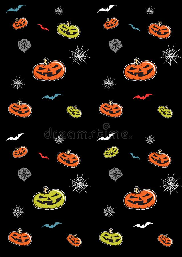 Seamless pattern for Halloween with pumpkins, bats and spider webs, halloween vector pattern. stock illustration