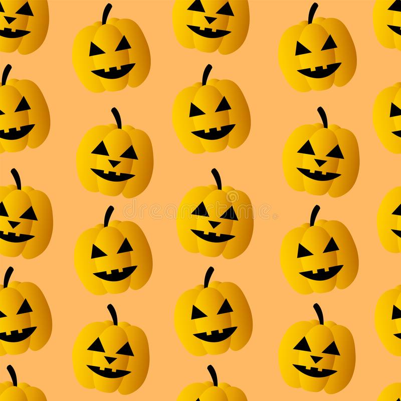 Seamless pattern for Halloween. Pumpkins with the faces of monsters. Vector background Wallpaper stock illustration