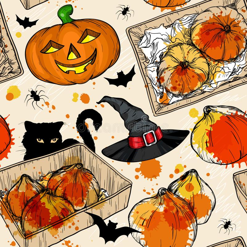 Seamless pattern with Halloween pumpkins, witch hat and black cat. vector illustration