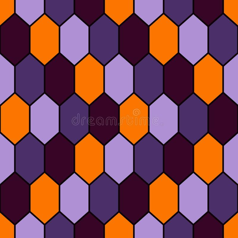 Seamless pattern in Halloween traditional colors with diamonds grid. Turtle shell motif. Honeycomb wallpaper. vector illustration