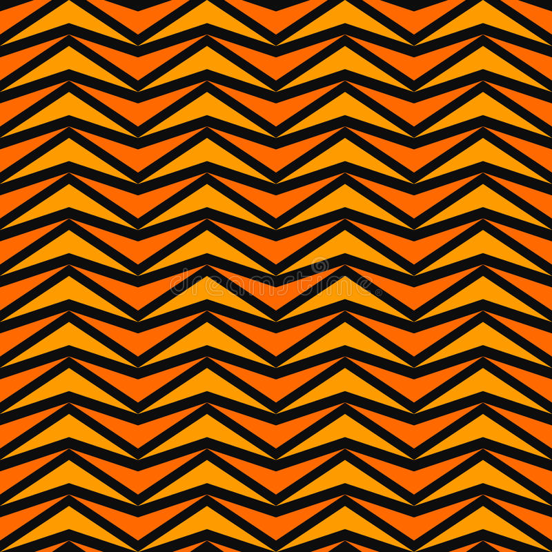 Seamless pattern in Halloween traditional colors. Orange stylized triangles mosaic abstract on black background. Vector stock illustration