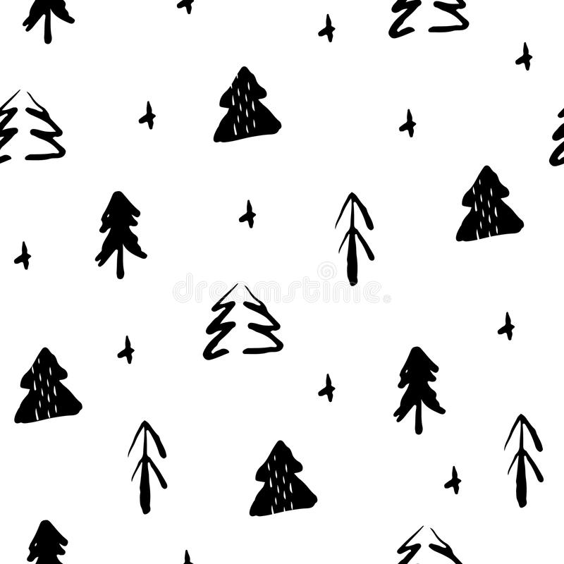 Seamless pattern with hand draw fir-trees. Christmas seamless ornament for textile and wrapping. Vector vector illustration