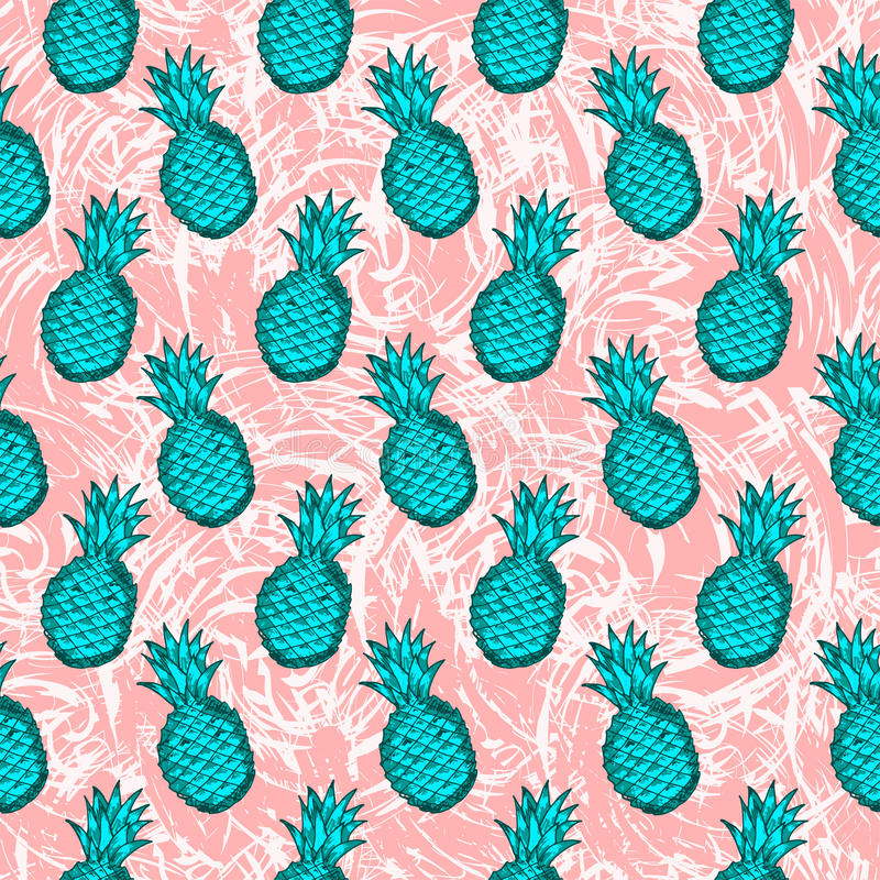 Seamless pattern from hand draw green pineapples on the creative stock illustration