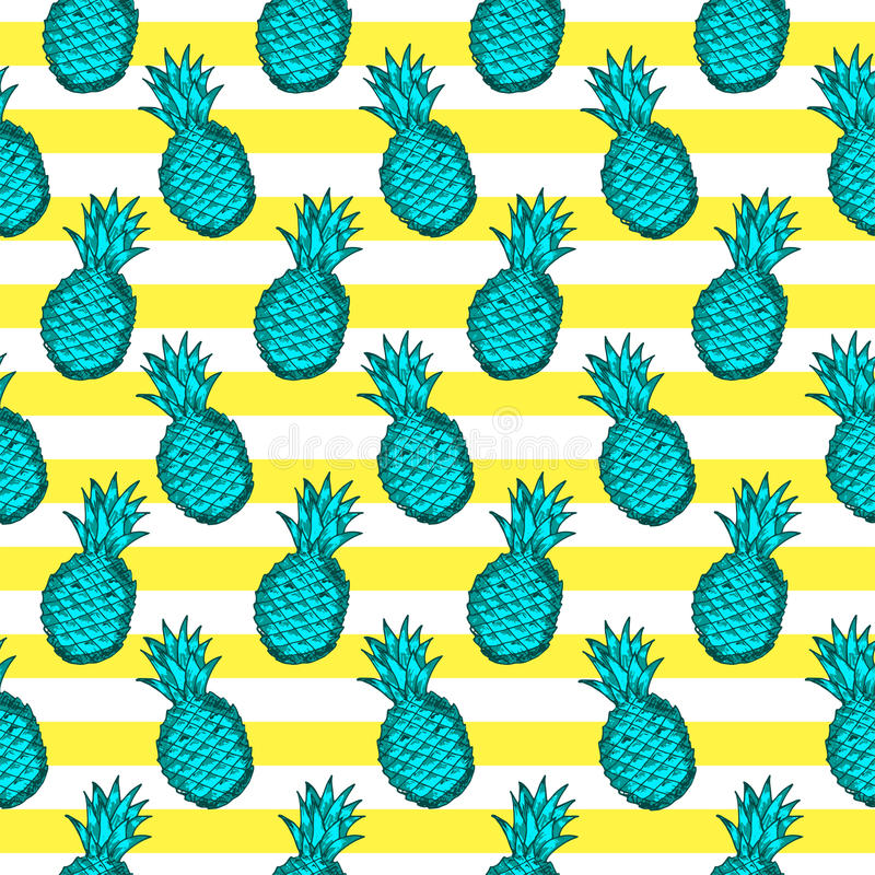 Seamless pattern from hand draw green pineapples, yellow and white lines. stock illustration