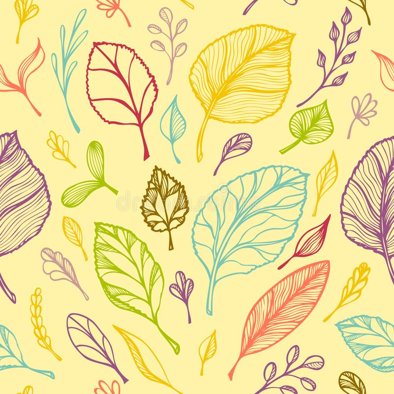 Seamless pattern from Hand draw structure of leaves colorful on yellow in line art for design flyer banner or for decoration pack. Age of tea or cosmetic or stock illustration