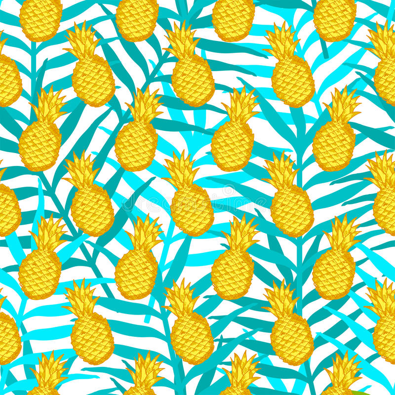 Seamless pattern from hand draw yellow pineapples on the green l royalty free illustration